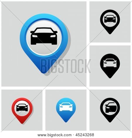 Map pointer with car