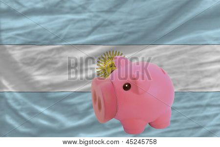 Piggy Rich Bank And  National Flag Of Argentina