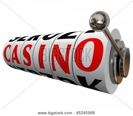 The word Casino on slot machine wheels to symbolize a fun gambling destination such as Las Vegas or other entertainment venues where betting takes place