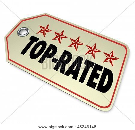 The words Top Rated and five stars to illustrate a product is the best choice among other options in buying a new item