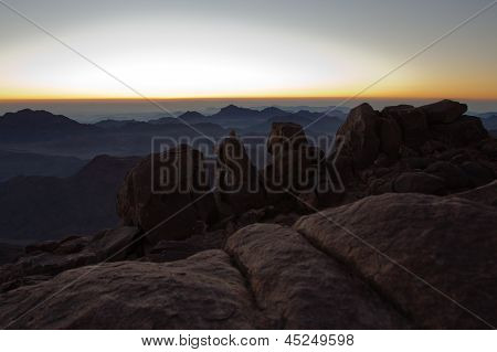 Dawn. Beautiful view from Mount Sinai. Egypt.