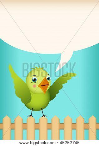Green bird tag label