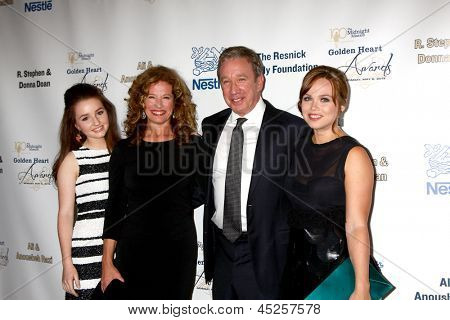 "LOS ANGELES - MAY 6:  Kaitlyn Dever, Nancy Travis, Tim Allen, and Amanda Fuller arrives at the 2013 ""Golden Heart Awards"" at the Beverly Wilshire Hotel on May 6, 2013 in Beverly Hills, CA"