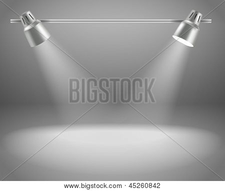 Photorealistic bright stage with projectors. Presentation vector template for a content