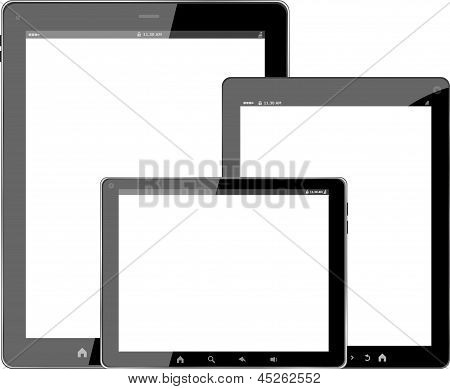 Tablet Pc Computer Set Isolated On White Background