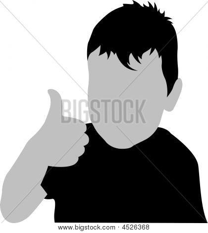 Boy Giving Ok Vector Silhouette
