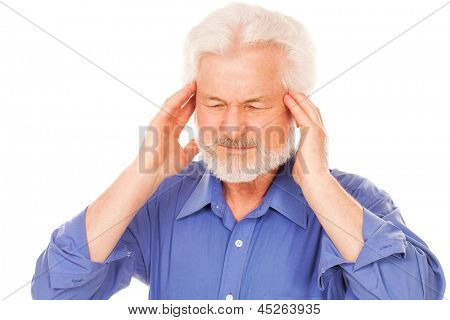 Handsome elderly man with headache isolated over white background
