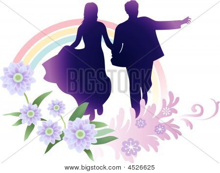 Vector Bride And Groom Running