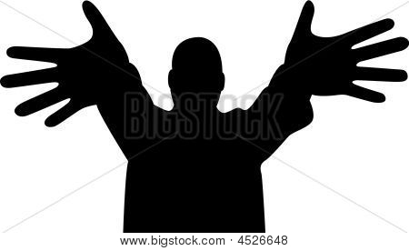Wide Finger Hands Silhouette