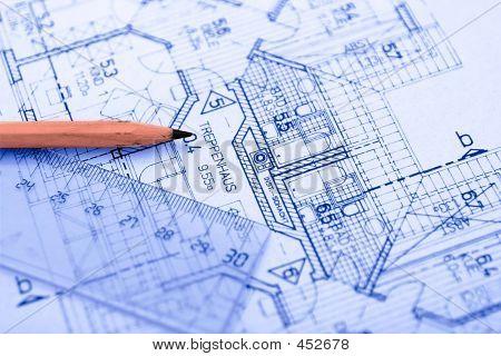 Pencil On Blueprint