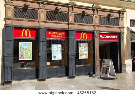 VALENCIA, SPAIN - MAY 5: McDonald´s restaurant on May 5, 2013 in Valencia, Spain. McDonald´s is the world's largest fast food chain with over 33,000 restaurants in more than 119 countries.