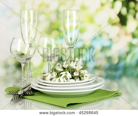 Serving dishes and snowdrops on natural background