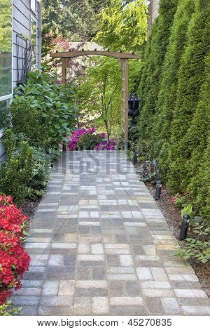 Garden Brick Paver Path With Arbor