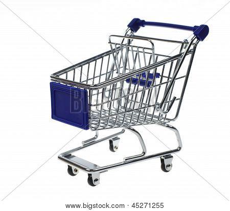 Metal Shopping Cart On White Background