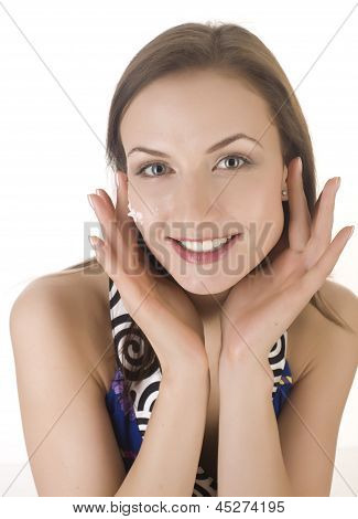 stock photo portrait of beautiful young woman touching her face