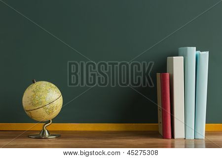 A blackboard and terrestrial globe