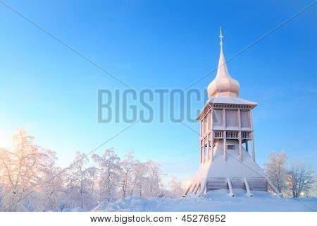 Architecture of Kiruna cathedral monument Sweden at dusk