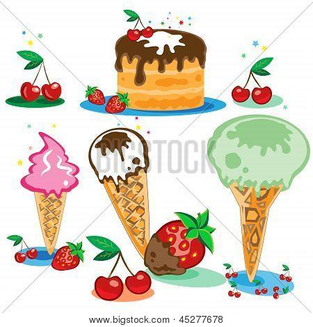 Set Of Tasty Ice Cream And Cake Isolated On White Background