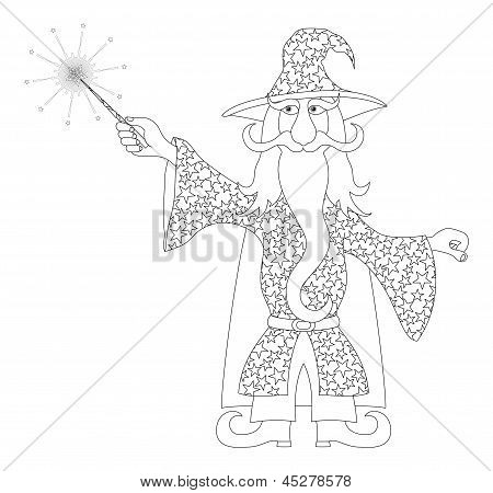 Wizard with magic wand, outline
