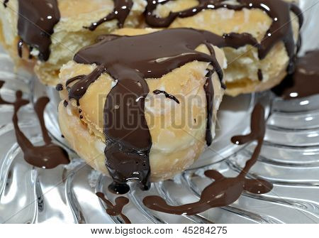 Sweet Pastry With Chocolate Icing