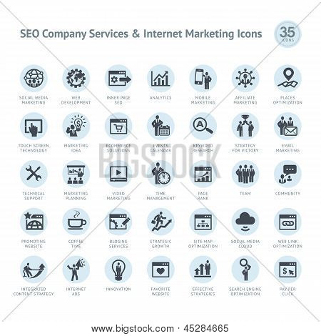 Empresa de servicios SEO y marketing iconos en Internet