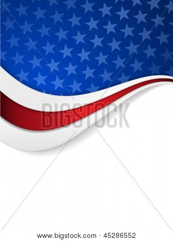 Abstract background with wavy pattern and space for your text.Stars on dark blue background with wavy stripes in red and white make it a great backdrop for USA themes, like Independent Day, etc.