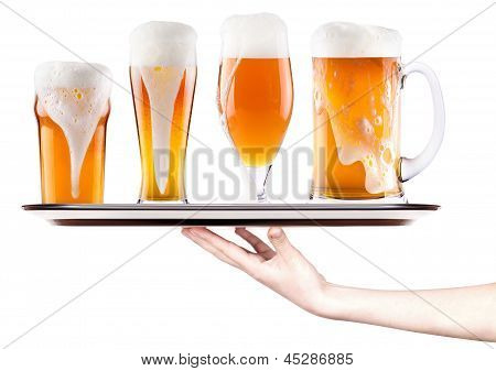 Beer On A Silver Tray With Waitress Hand