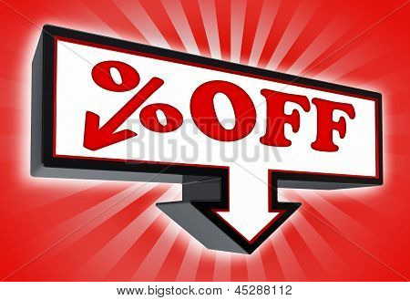 Percent Off Price Sign With Arrow Down