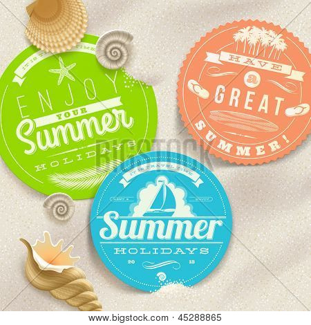 Summer vacation and travel labels and sea shells on a beach sand - vector illustration. (elements outside of the art-board is not cut off - they with clipping mask)