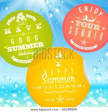 Stickers with summer vacation and travel emblems on a glass against a sunny seascape - vector illustration. (elements outside of the art-board is not cut off - they with clipping mask)