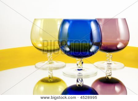 Wine Blue Yellow Red Glass