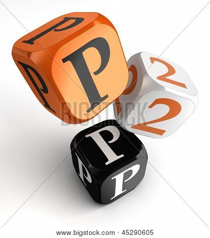 P2P Orange Black Dice Blocks
