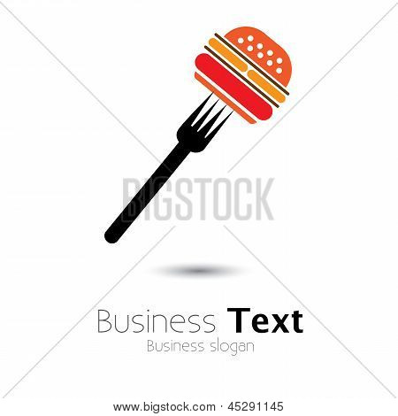 Fast Food Burger & Fork Icon For Cafes, Hotels- Vector Graphic