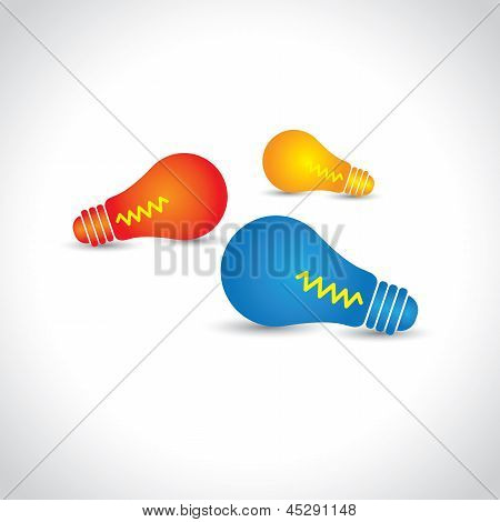 The Colorful Light Bulbs Glowing- Vector Graphic