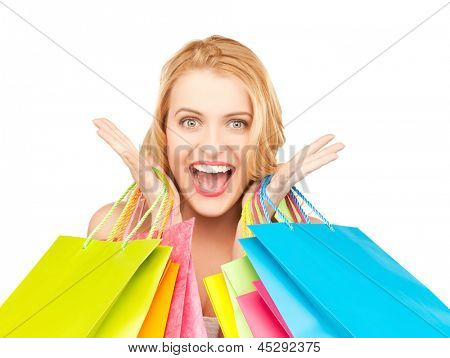 picture of crazy woman with shopping bags .
