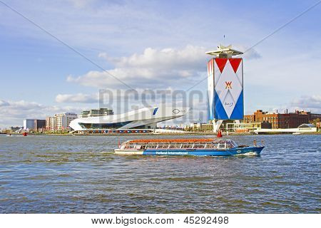 AMSTERDAM, NETHERLANDS - APRIL 30: Decoration from the harbor and ships on the occasion of the coronation of the new king Willem Alexander from the Netherlands on 30 april 2013