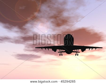 Concept or conceptual black plane, airplane or aircraft silhouette flying over sky at sunset or sunrise background