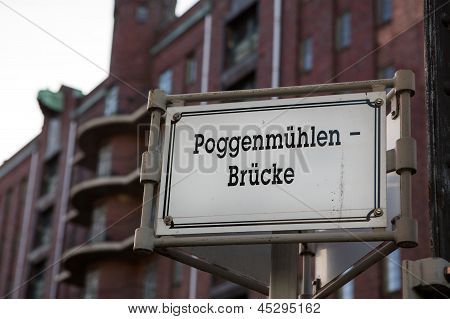 Sign On An Old Bridge In Hamburg, Speicherstadt