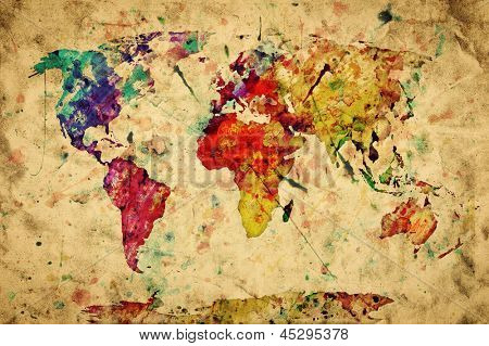 Vintage world map. Colorful paint, watercolor, retro style expression on grunge, old paper. High res, superb quality