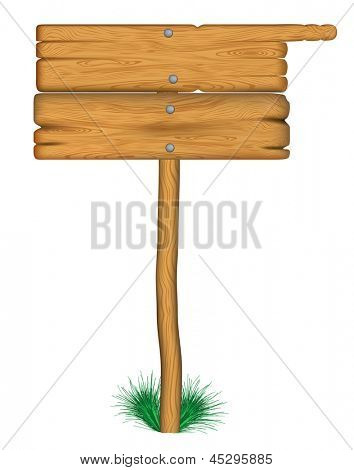 old wooden billboard on the grass. Rasterized illustration. Vector version in my portfolio