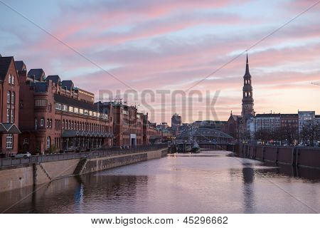 Sunset In Hamburg, German City. Speicherstadt District