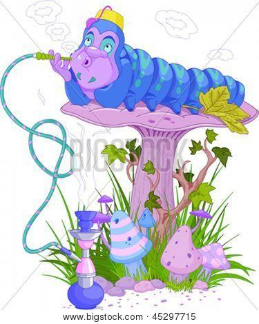 La oruga azul con una cachimba