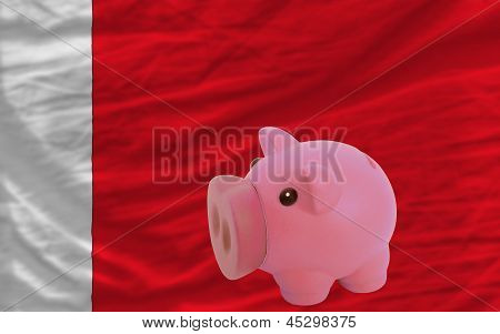 Piggy Rich Bank And  National Flag Of Bahrain