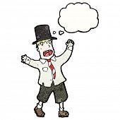 stock photo of hobo  - cartoon crazy hobo man in top hat - JPG