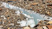 stock photo of crevasse  - Crevasse at Baltoro Glacier in the Karakoru in Pakistan - JPG