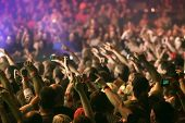 stock photo of crowd  - Crowd at a music concert - JPG