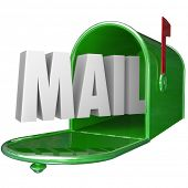The word Mail in a green metal mailbox to represent delivery of a new message, letter or other form