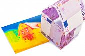 a house built out of euros and money seem an infrared image. building society, building houses and b