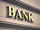 picture of economy  - Bank sign on building - JPG