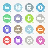 Transportation,  web icons set in color speech clouds